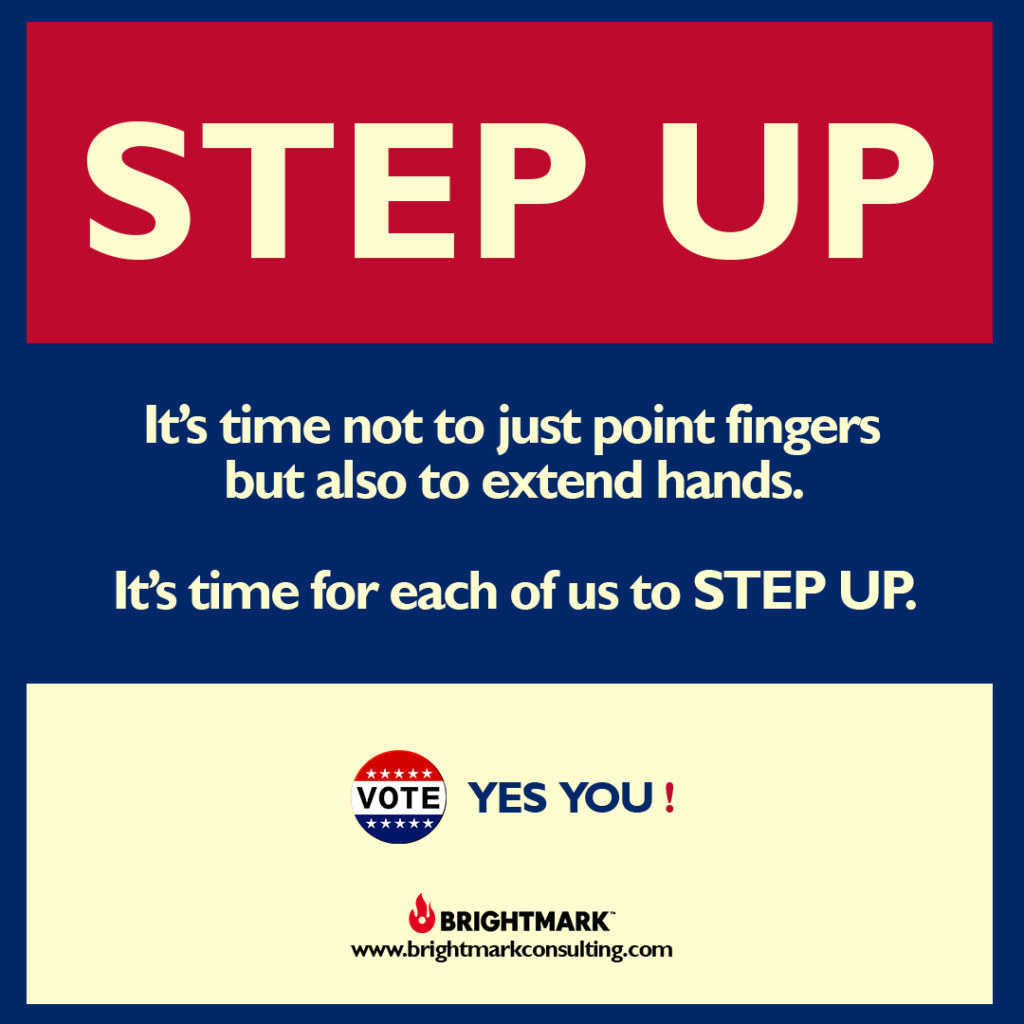 BrightMark Step Up Campaign graphic 3 - it's time to extend hands