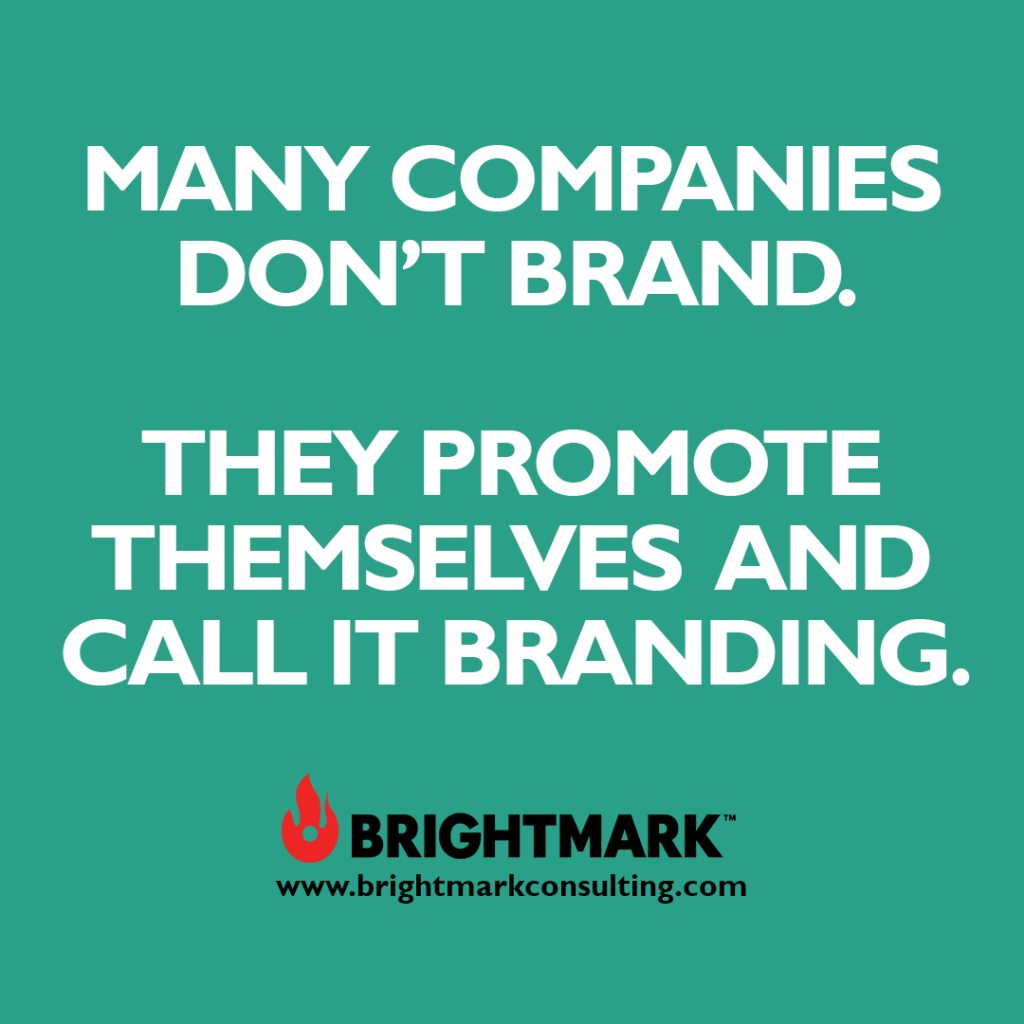 Inspirational BrightMark quotes and thoughts: Many companies don't brand. They promote themselves and call it branding.