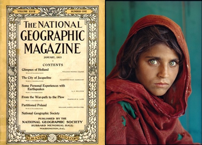 Steve McCurry's iconic photograph of a young Afghan girl in a Pakistani refugee camp appeared on the cover of National Geographic magazine's June 1985 and became the most famous cover image in the magazine's history. Steve McCurry/Courtesy of National Geographic.